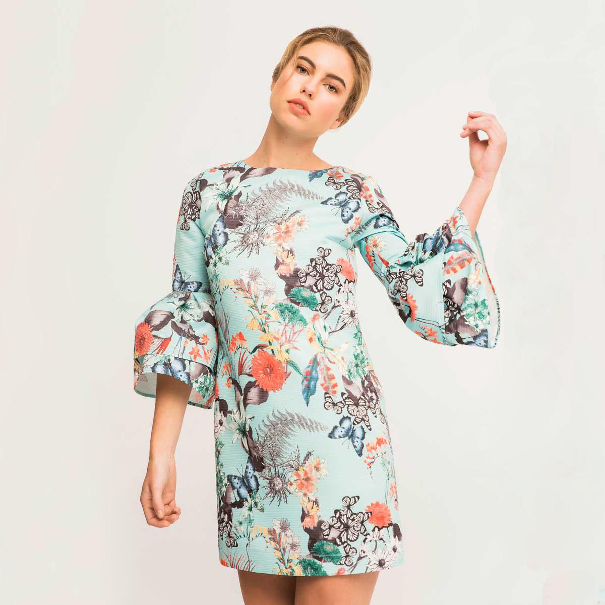 vestido corto evase estampado mariposas con volantes en mangas mynes apparentia