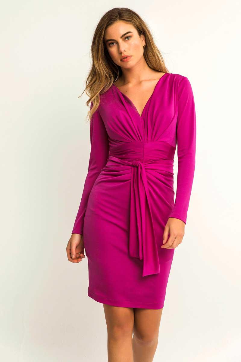 vestido frambuesa corto manga larga anemona