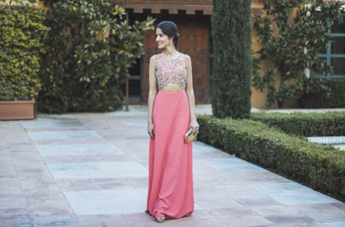 vestido aster largo color coral con lentejuelas