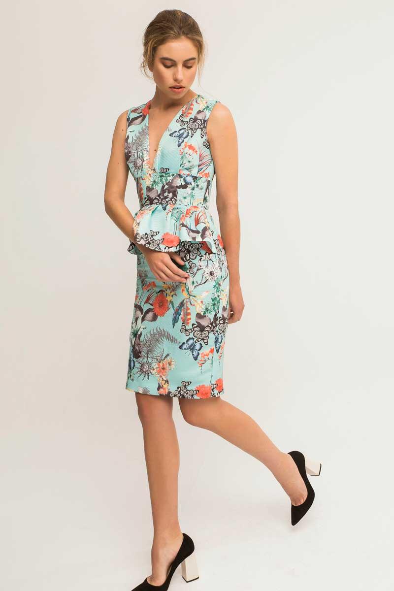 vestido corto peplum estampado vila apparentia
