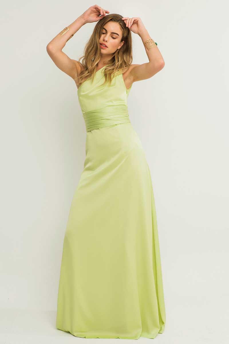 vestido largo lima drapeado asimetrico apparentia