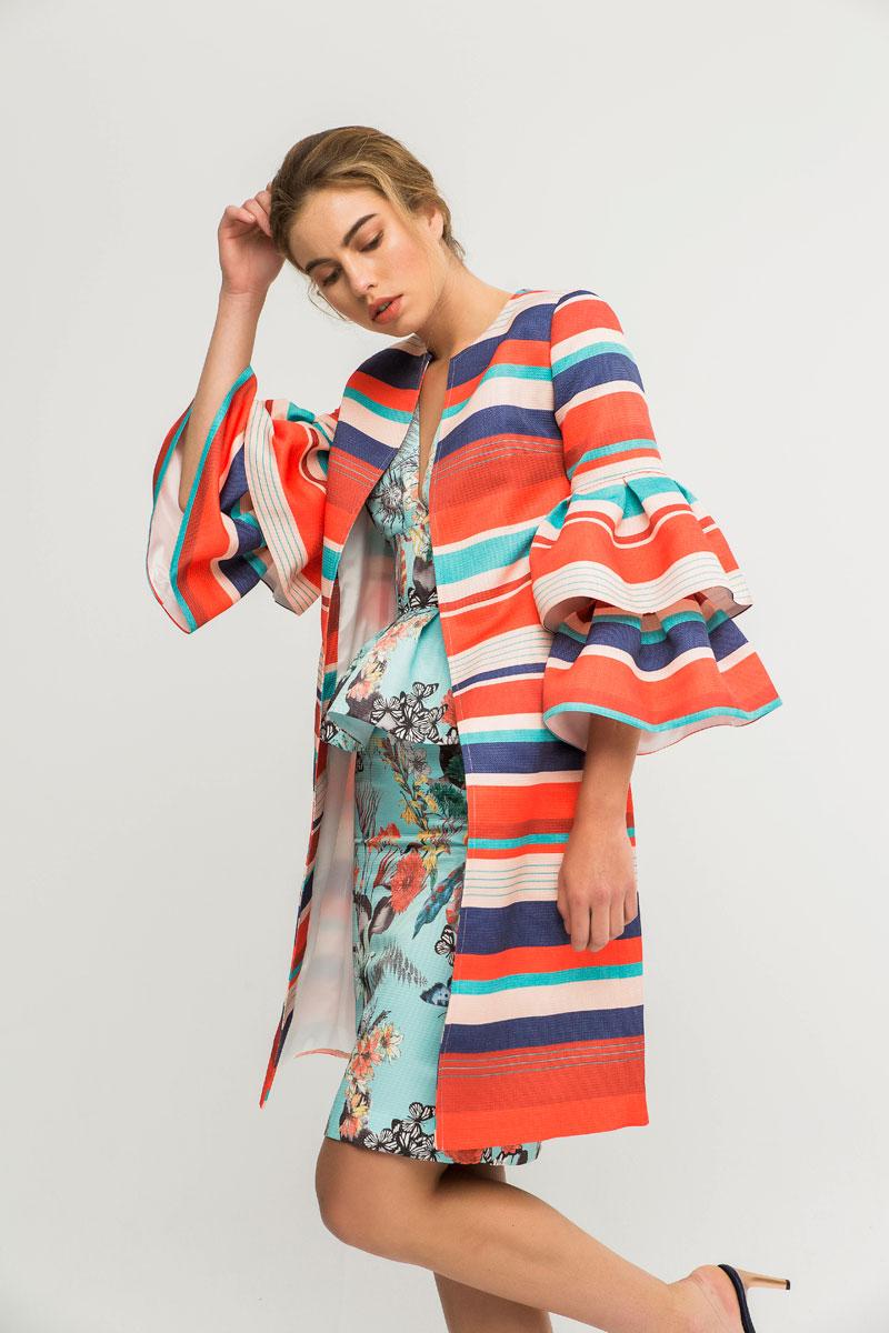 abrigo tejido otoman rayas con volantes mangas apparentia
