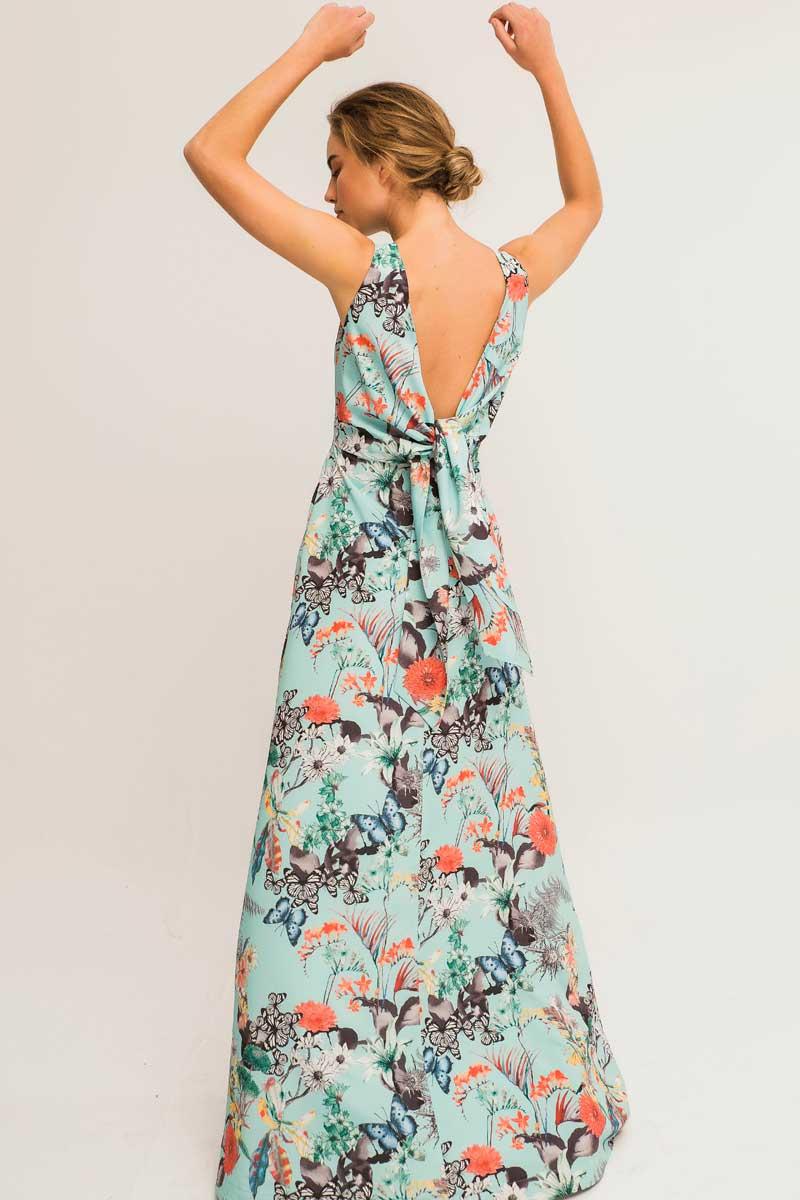 vestido largo estampado espalda al aire kalima apparentia