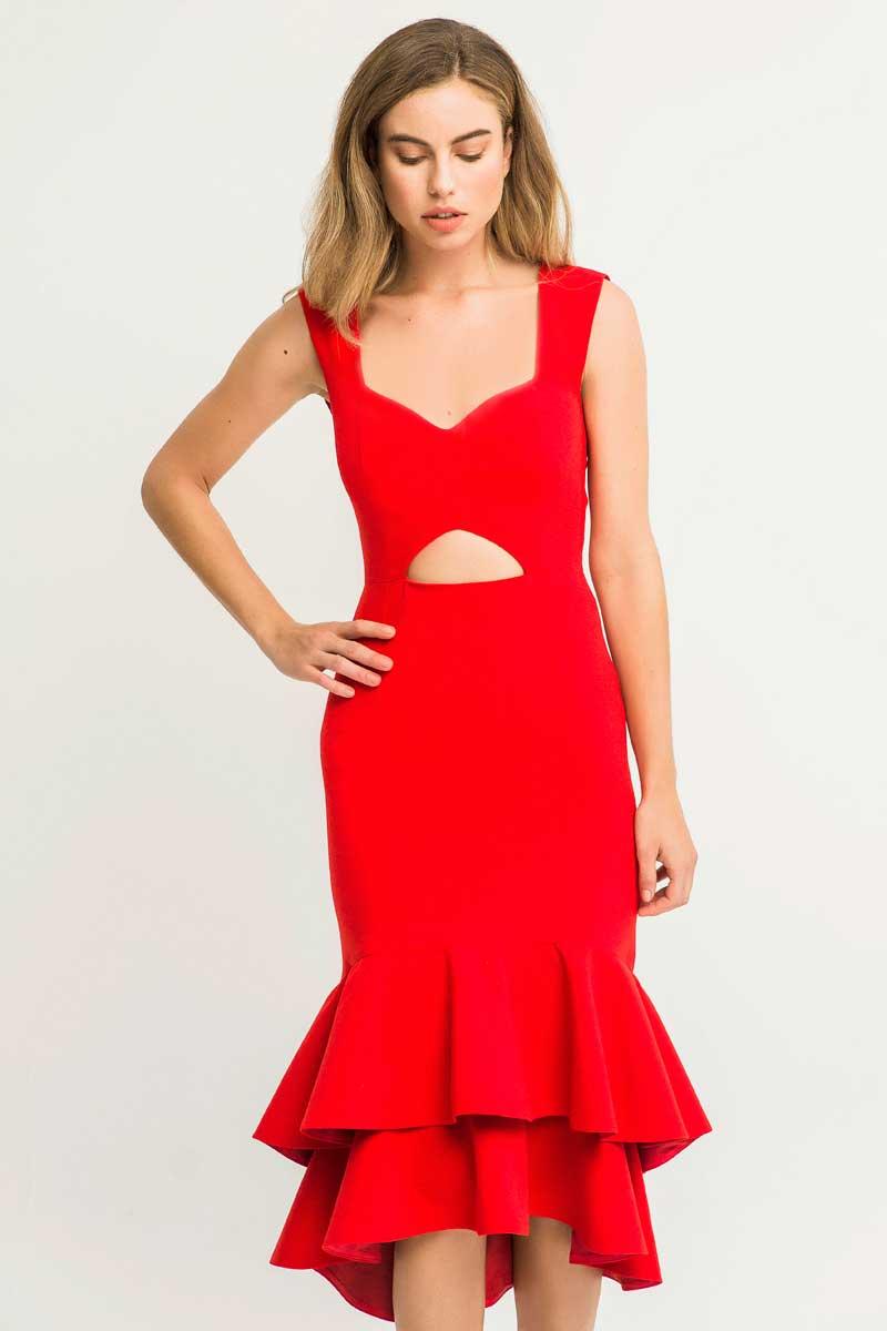 vestido de fiesta corto rojo con volantes rosalia de apparentia