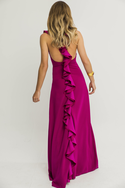 vestido largo frambuesa volante espalda buganvilla
