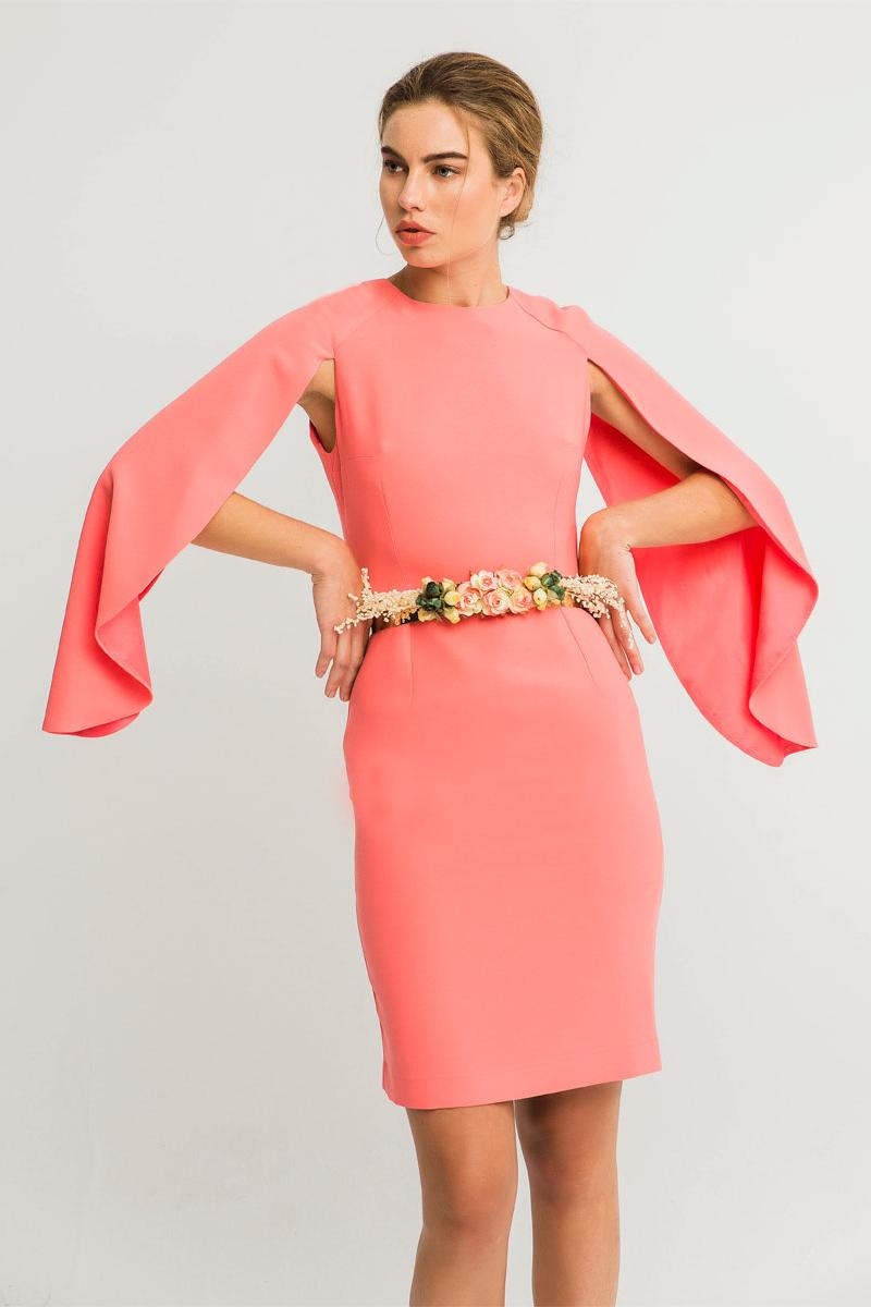 vestido corto manga capas coral lia de apparentia