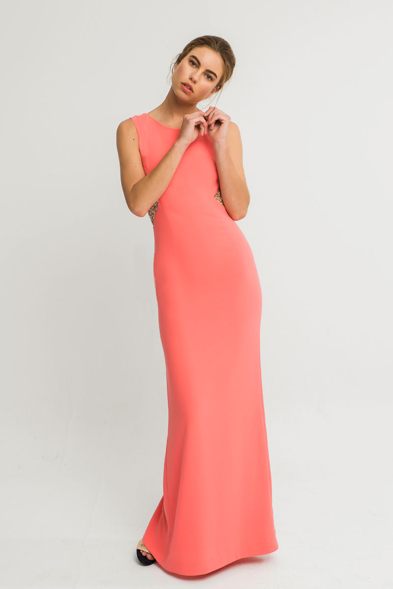 vestido largo coral lentejuelas laterales rita apparentia