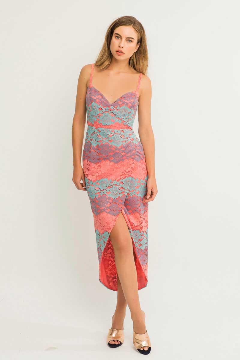 vestido calisto tirantes color frambuesa y coral de apparentia