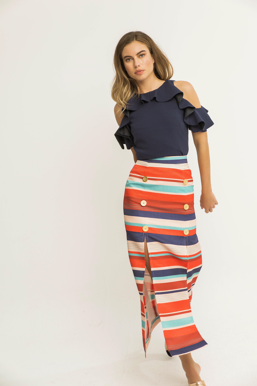 falda larga otoman rayas doble abotonadura apparentia