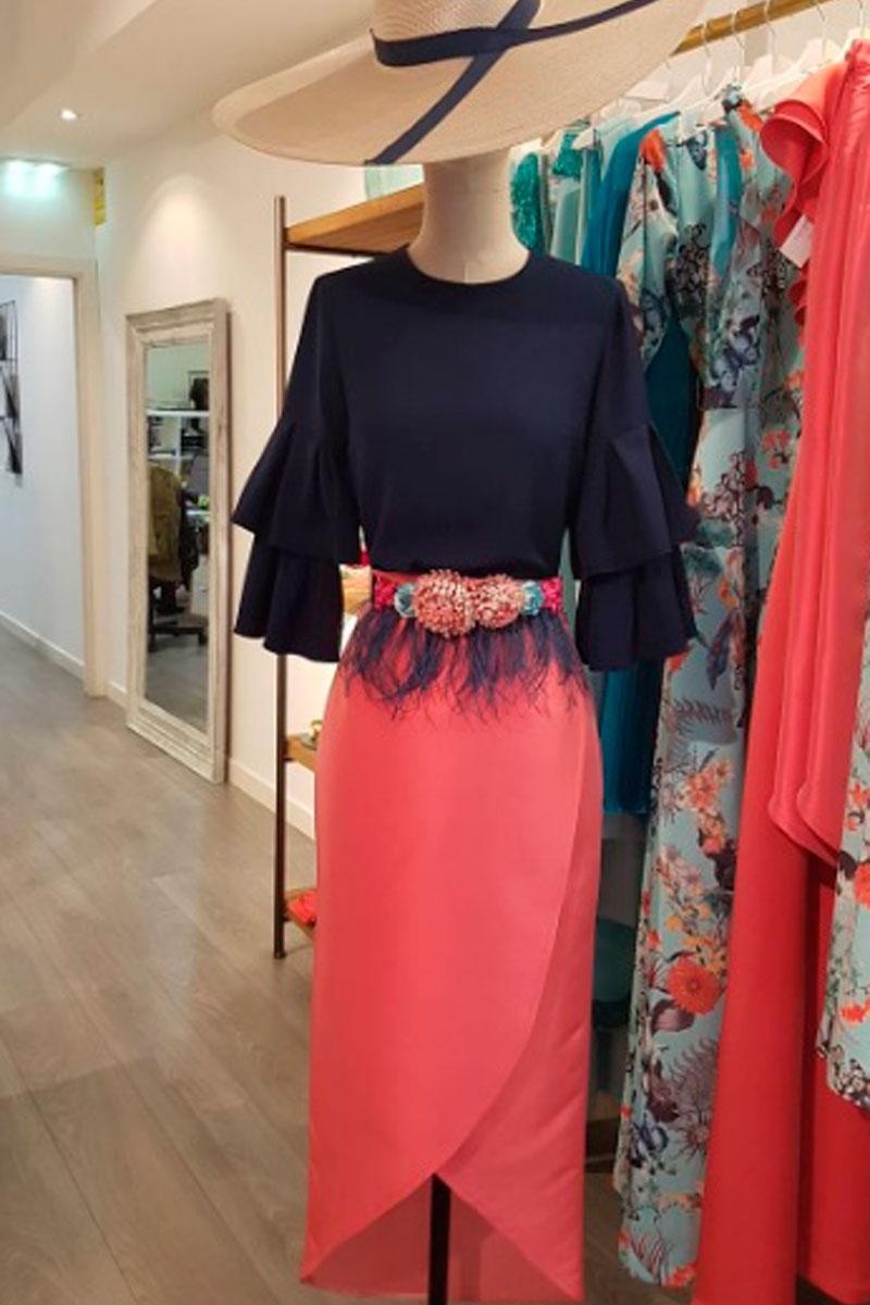 falda asimetrica midi color coral tormenta apparentia