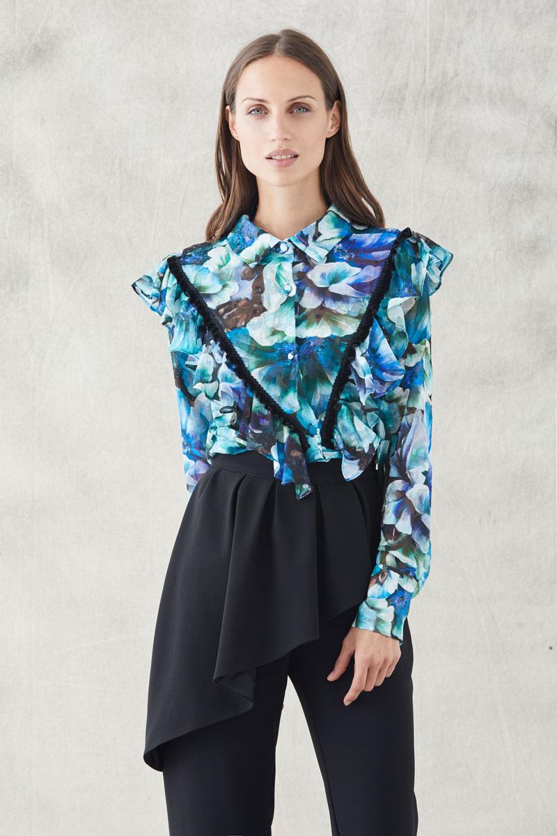 blusa estampada flores crepe devore manga larga de apparentia