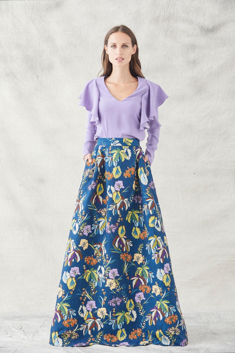 falda constance estampada con blussa lily de apparentia