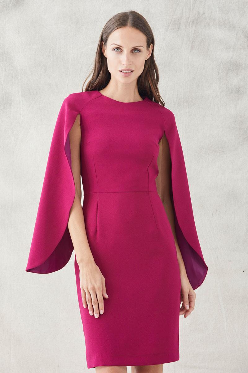 vestido corto frambuesa mangas de capa de apparentia