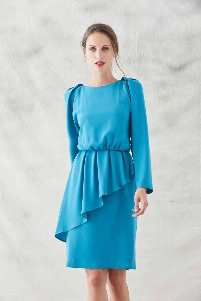 vestido corto azul de manga larga peplum lauren