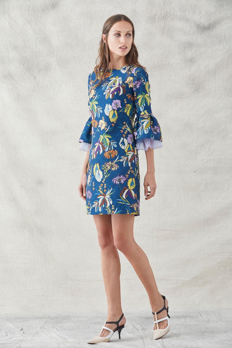 vestido corto jane estampado de jacquard con flores de apparentia
