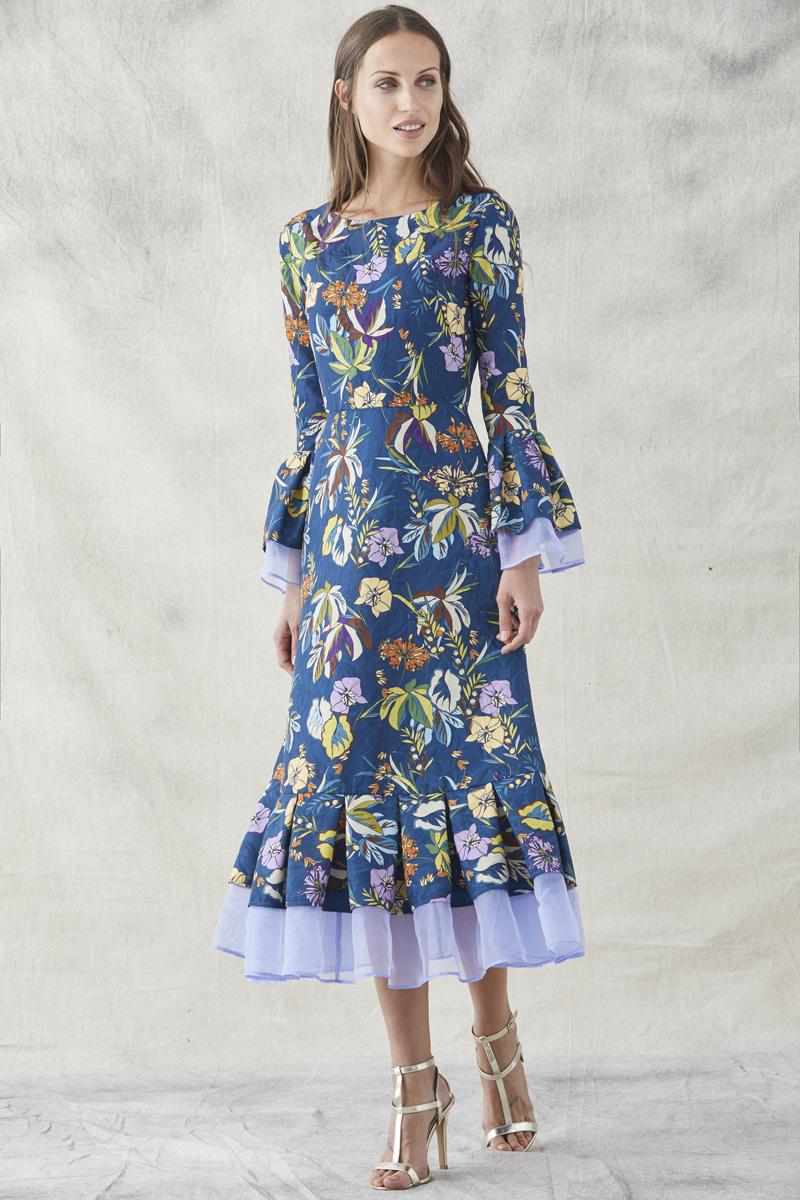 vestido midi jacquard estampado azul organza tul de apparentia