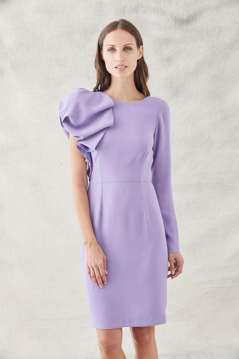 vestido corto hombro abullonado lila de apparentia