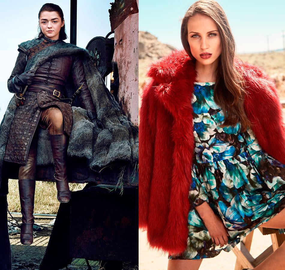arya stark con vestido corto vuelo estampado flores y abrigo de pelo leah de apparentia juego de tronos