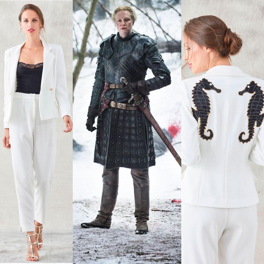 brienne de tarh de juego de tronos con traje blanco con caballos bordados de apparentia
