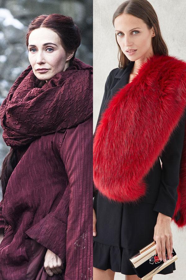 melisandre mujer de rojo juego de tronos con vestido esmoquin negro y estola roja de apparentia