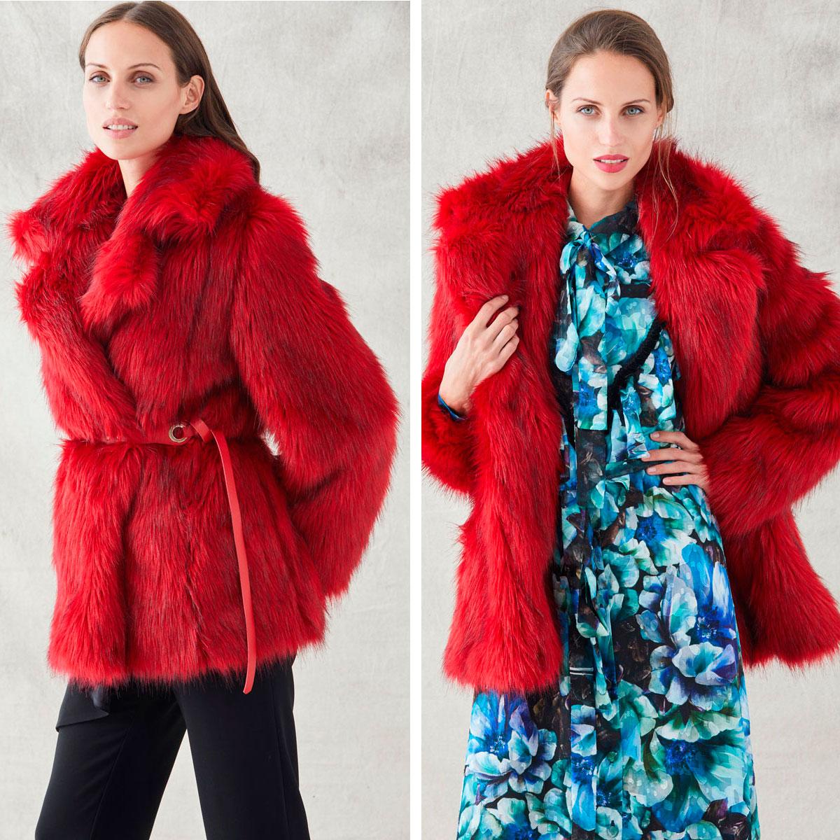abrigo rojo de pelo sintetico de apparentia para invierno combinar con vestido y pantalon