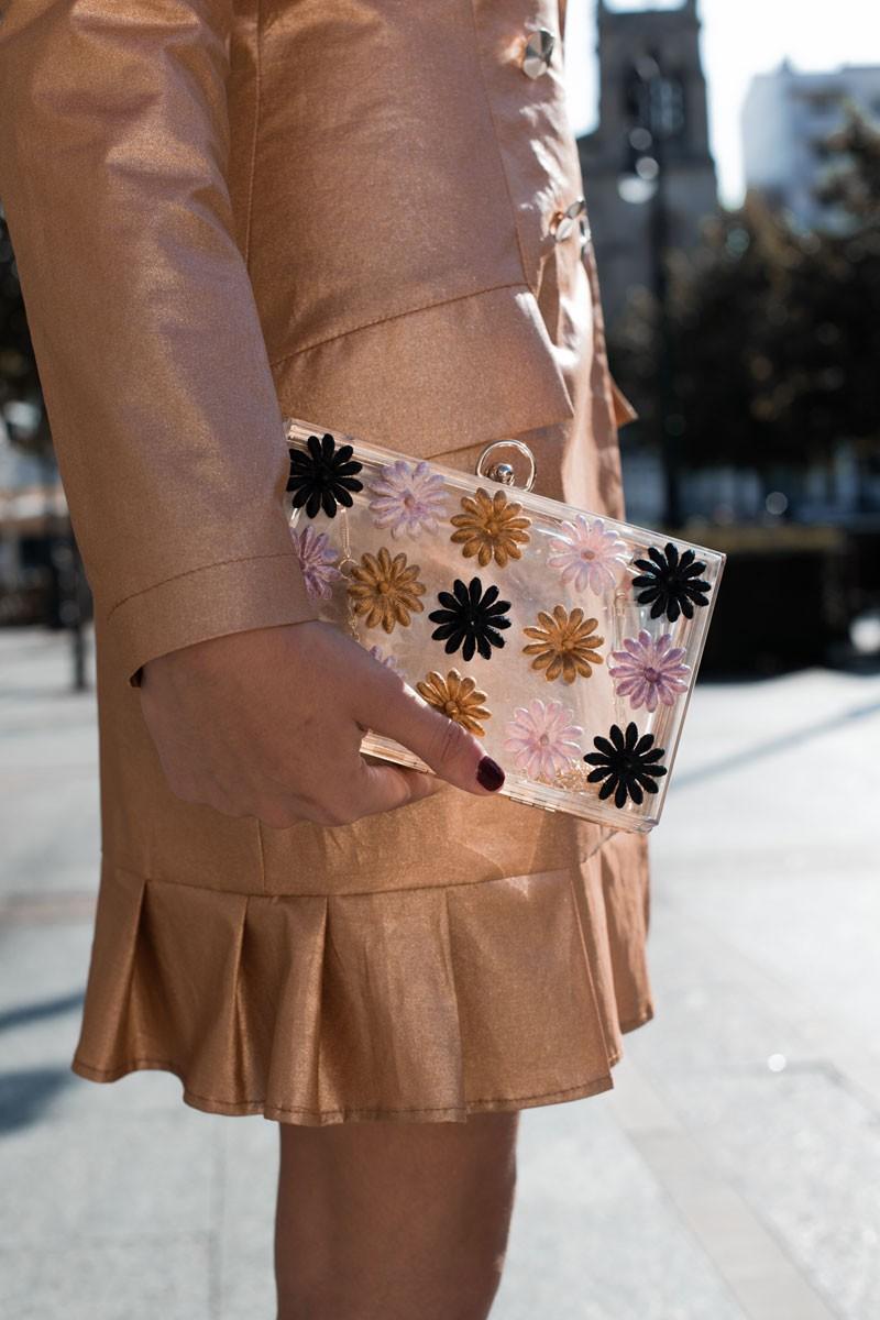 clutch metacrilato flores terciopelo de apparentia