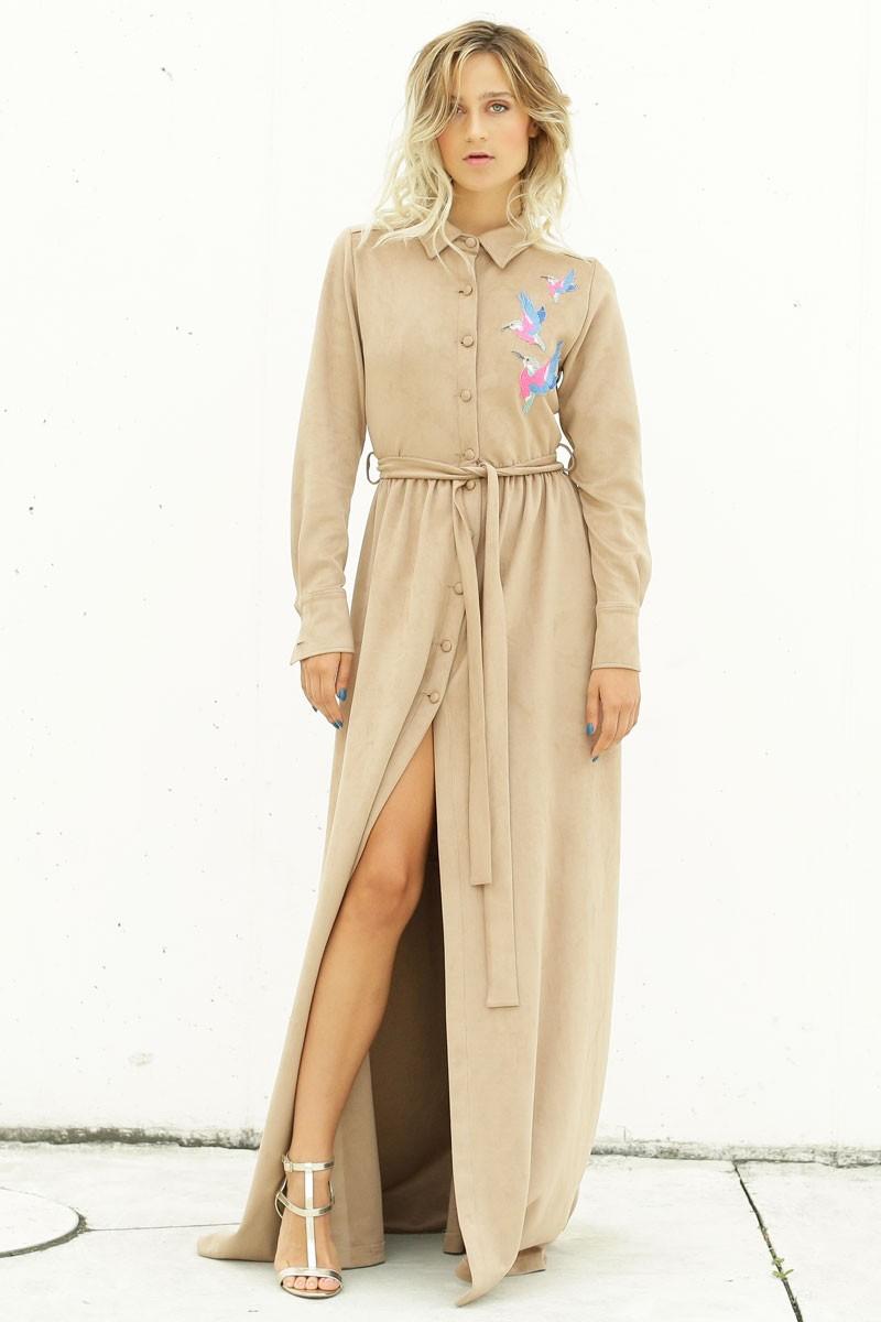 976cdca2f vestido ante largo camisero beige botones cinturon apertura lateral detalle  pajaros apparentia