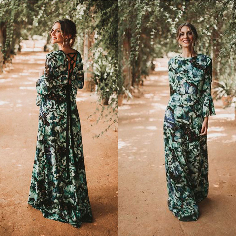 vestido estampado berenice escote espalda cruzada terciopelo look bridalada para apparentia