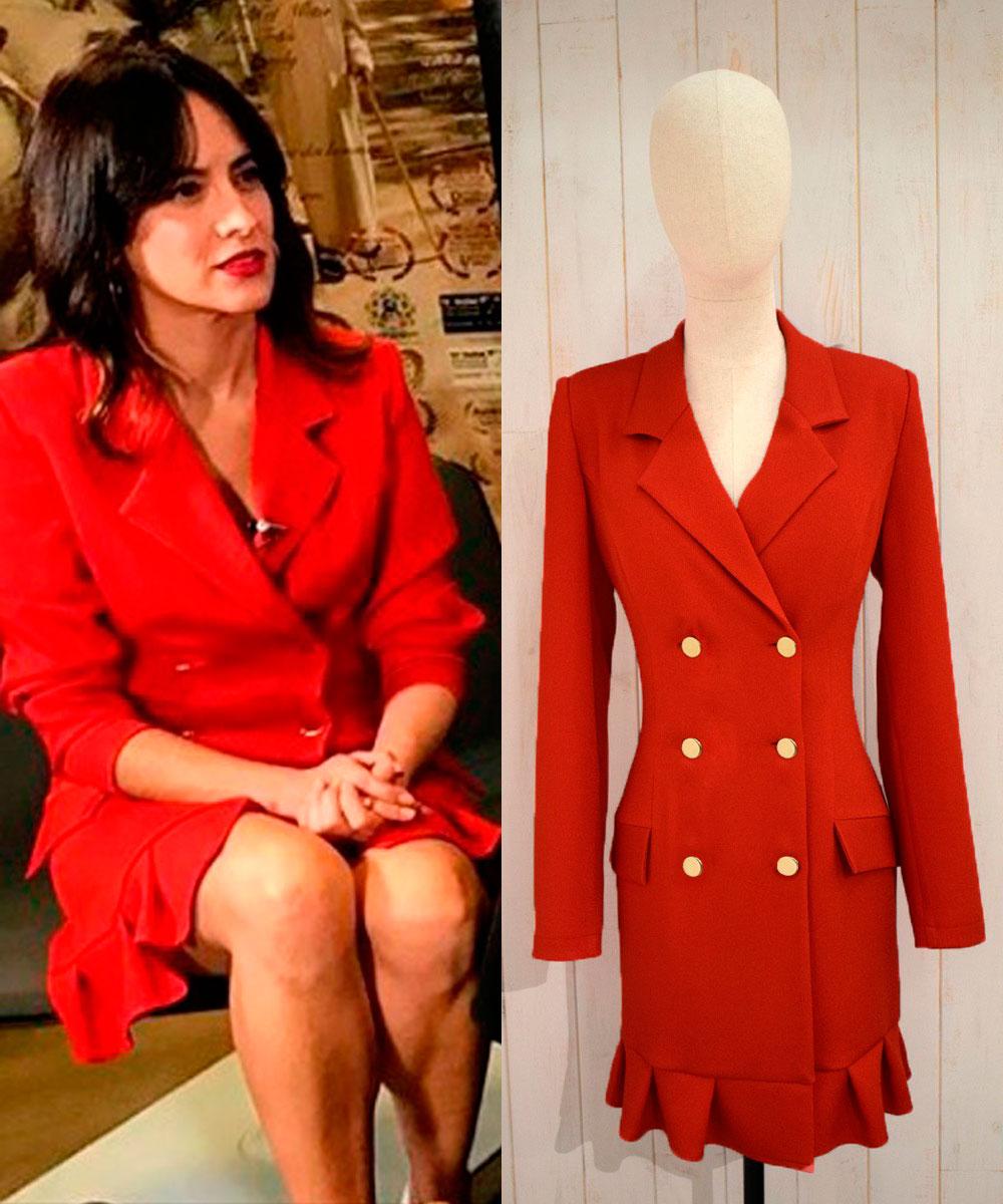 vestido rojo esmoquin corto de apparentia actriz ana turpin fiesta nochevieja