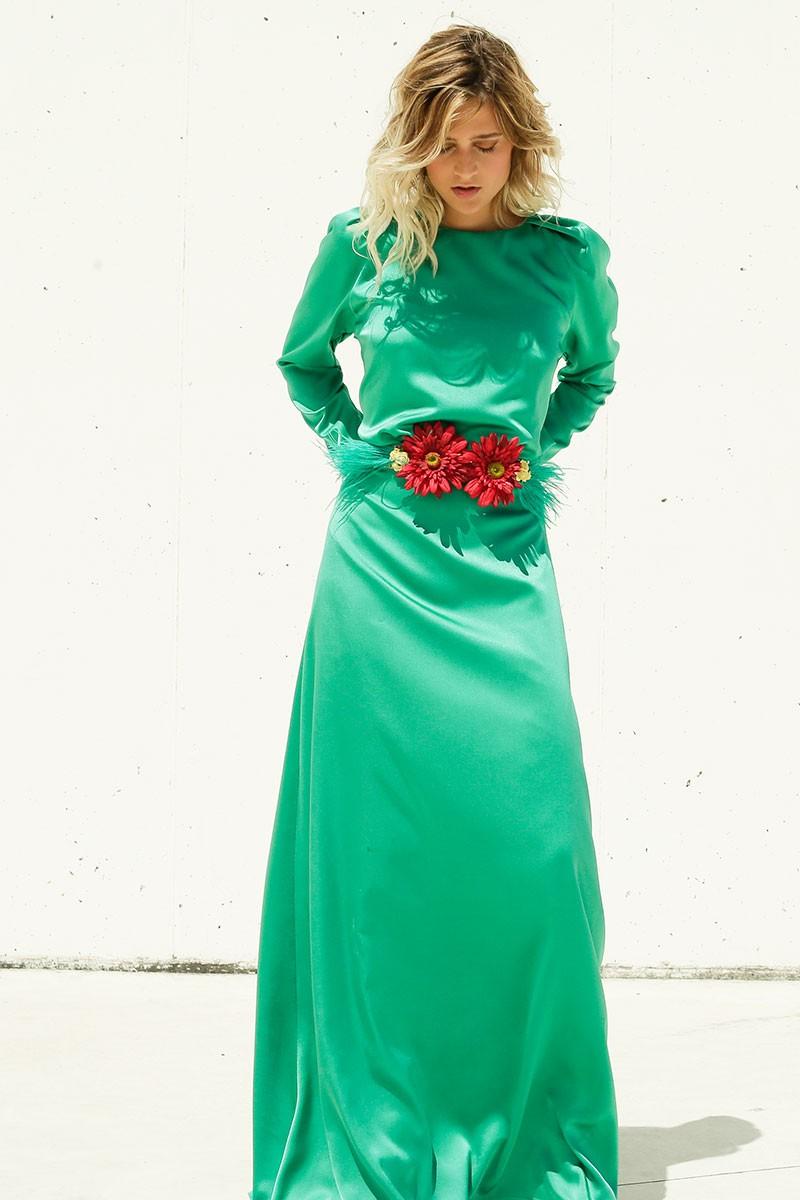 vestido verde largo saten boston y cinturon de flores de apparentia rebajas