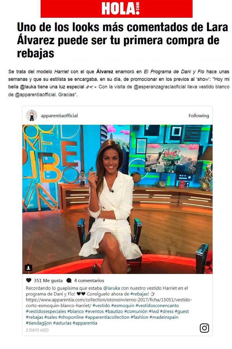 vestido blanco esmoquin presentadora lara alvarez programa dani & flo de cuatro