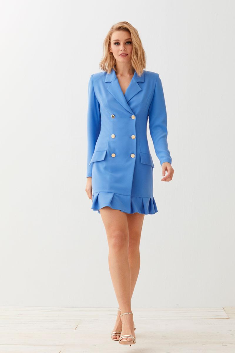 vestido esmoquin azul corto con volante de apparentia invitadas
