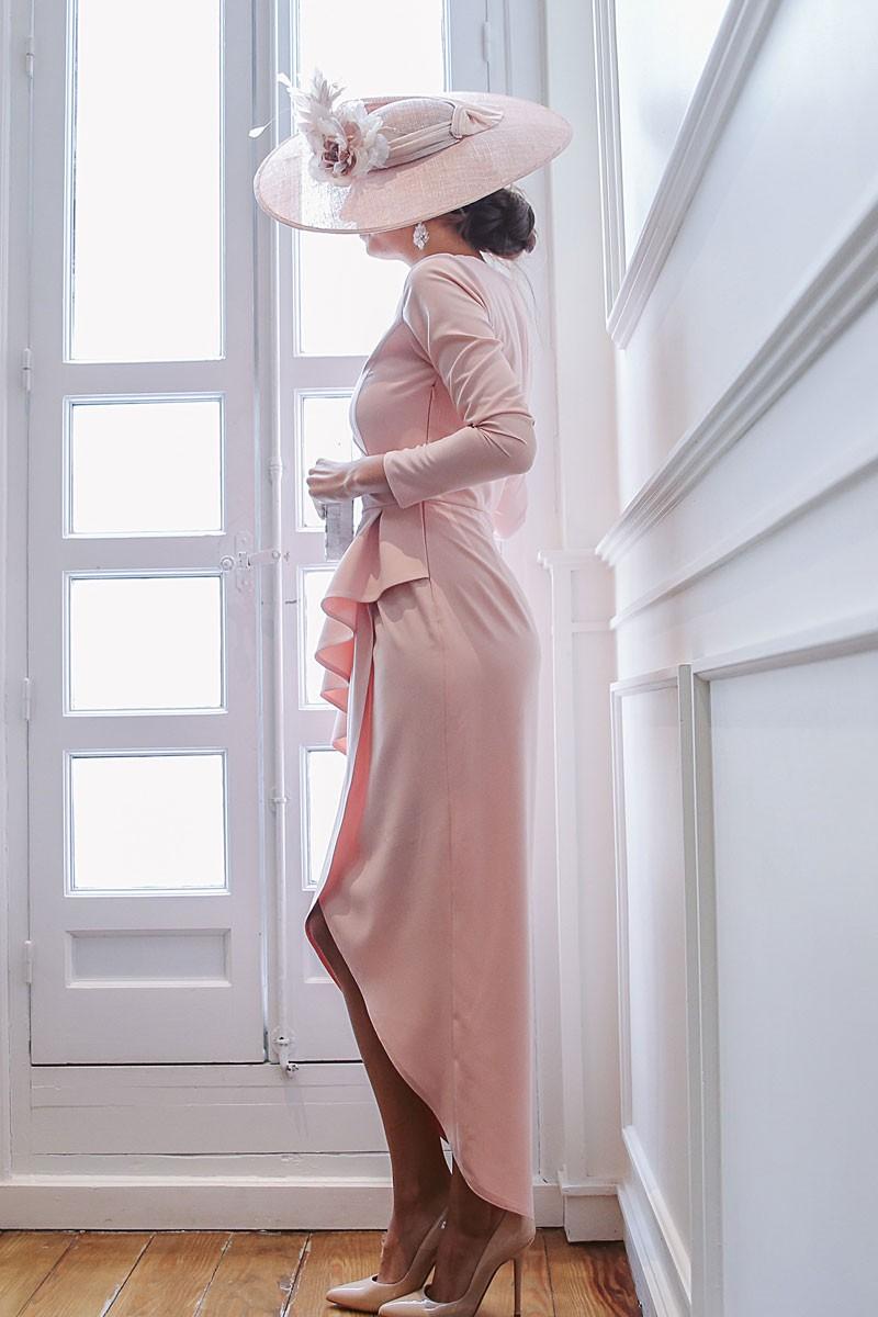 vestido rosa palo adrienne de apparentia