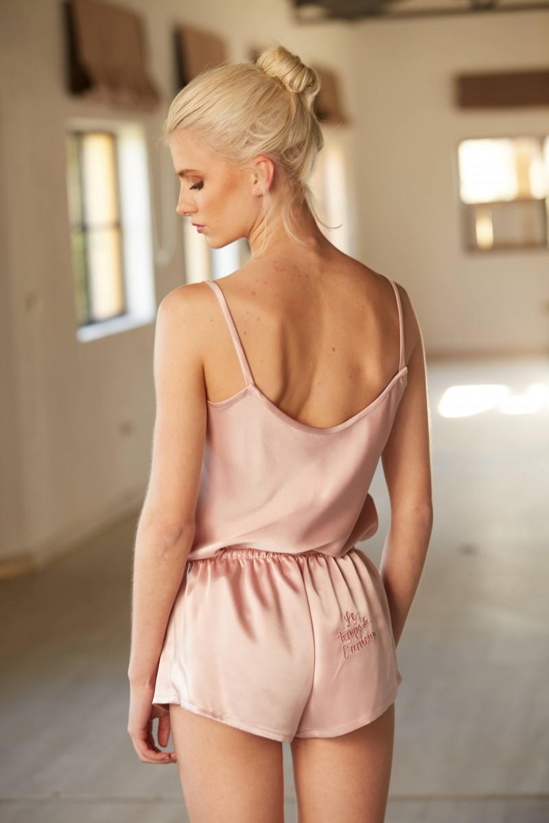 conjunto top y short rosa personalizado lenceria apparentia