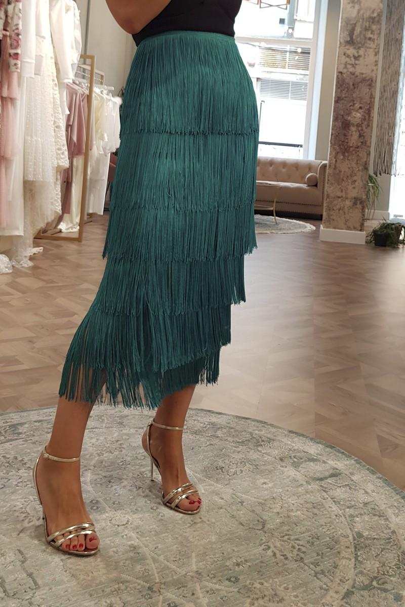 falda flecos verde pavo apparentia