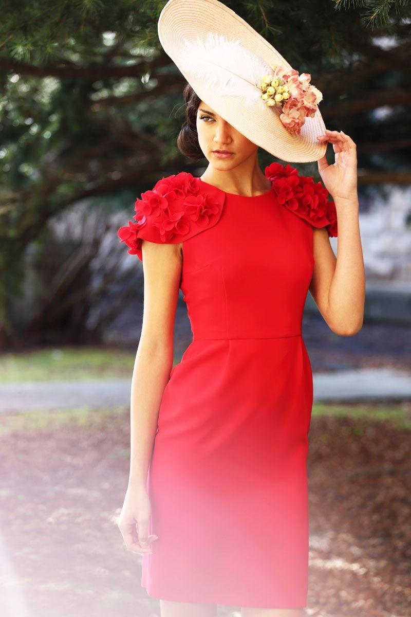 vestido corto rojo flores invitada apparentia