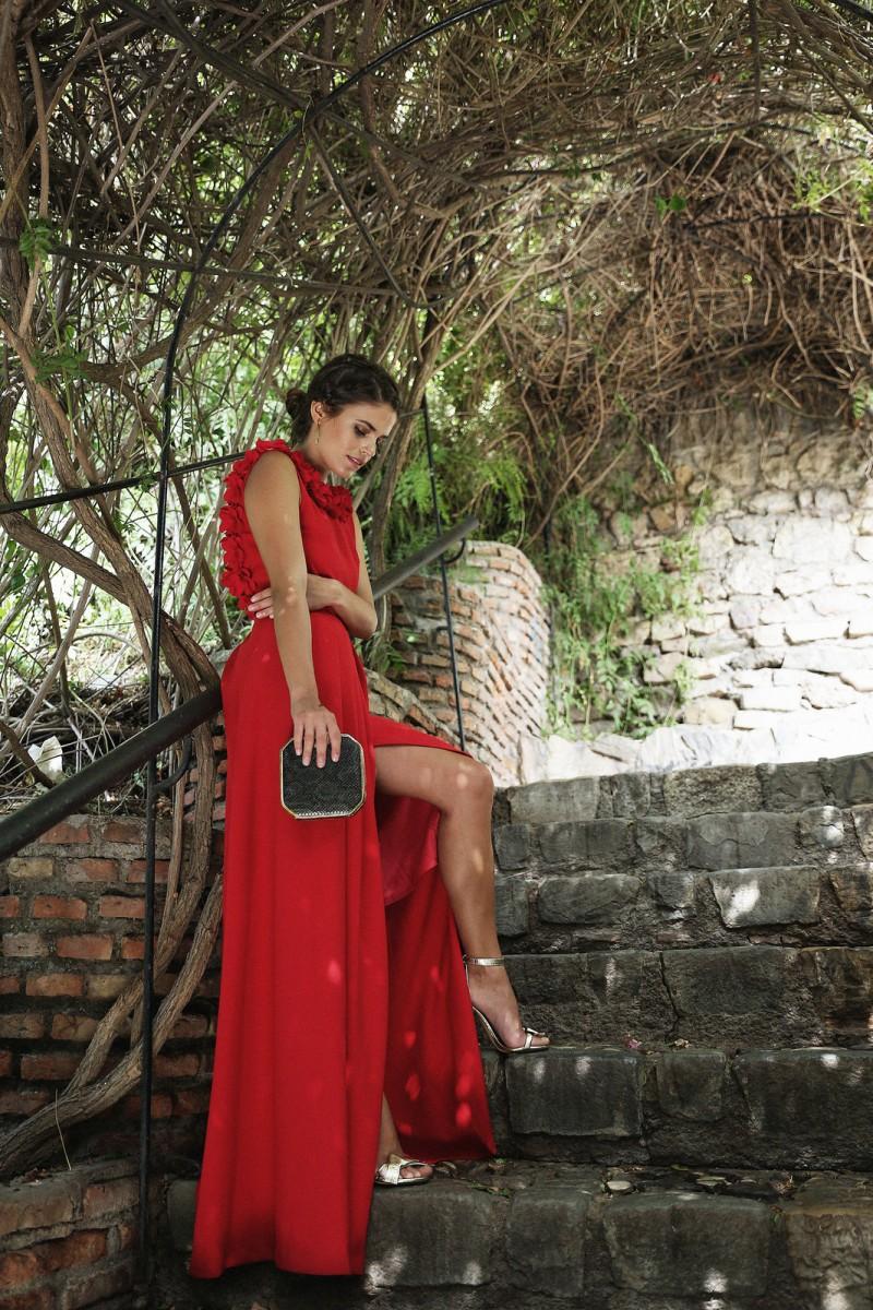 Accesorios para vestido rojo largo de fiesta