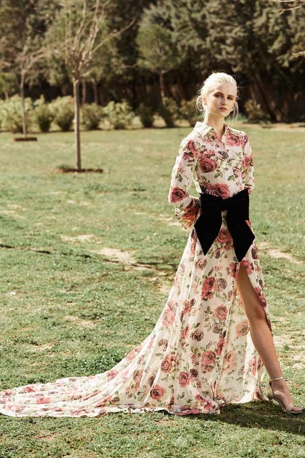 vestidos novia apparentia bridal collection camisero flores rosas lazo terciopelo negro