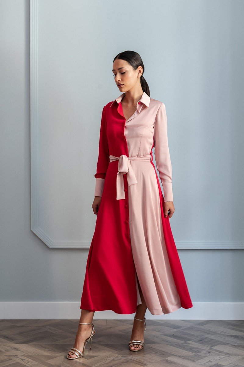 vestido midi  camisero rojo y rosa para invitada de apparentia