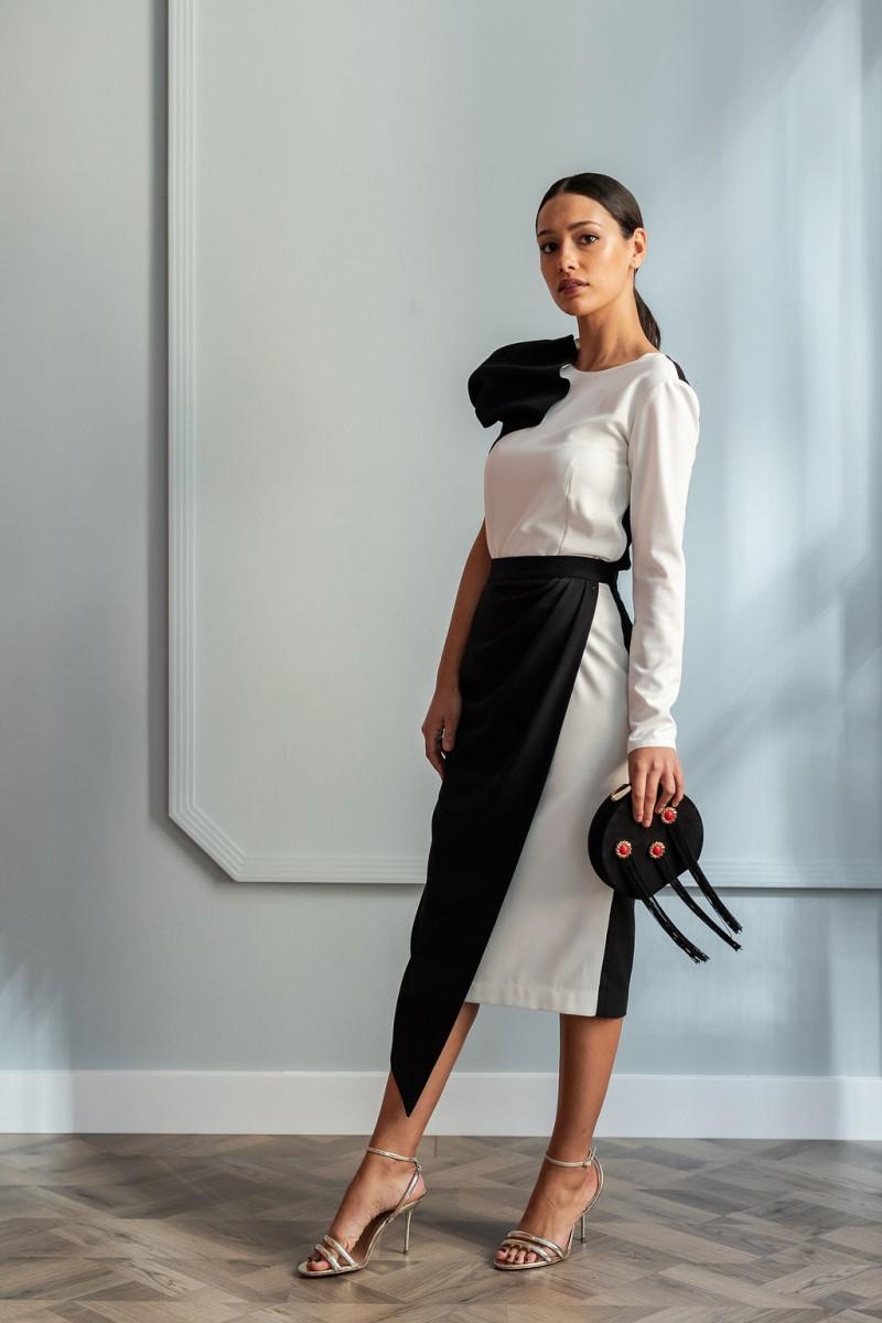falda blanca y negra pico con top carlota blanco y negro fiesta apparentia