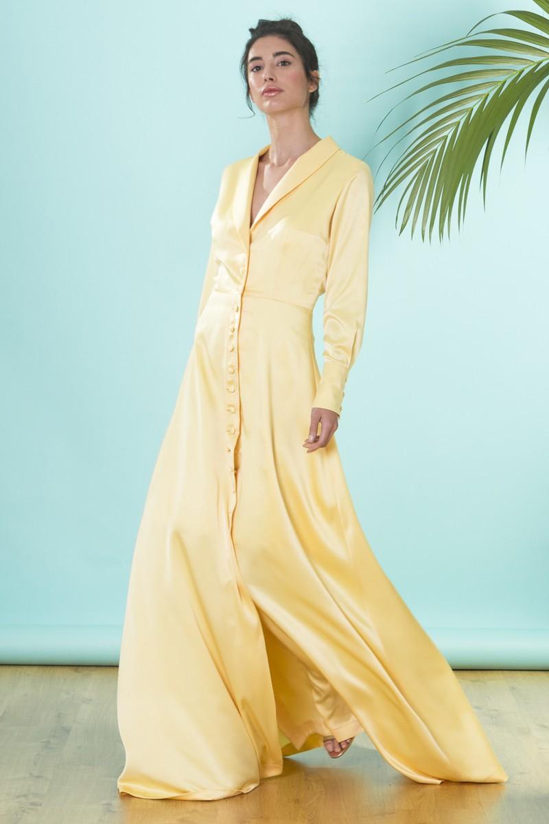 vestido camisero largo ambar amarillo manga larga invitadas apparentia