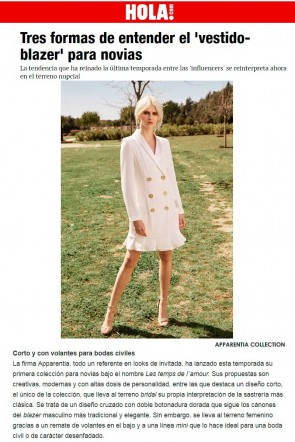 el vestido esmoquin blanco corto de apparentia destacado en revista hola para novias wedding dress