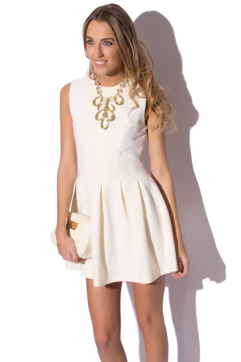 Vestido Skater Falda Blanca Plisada 97cde214ca1d