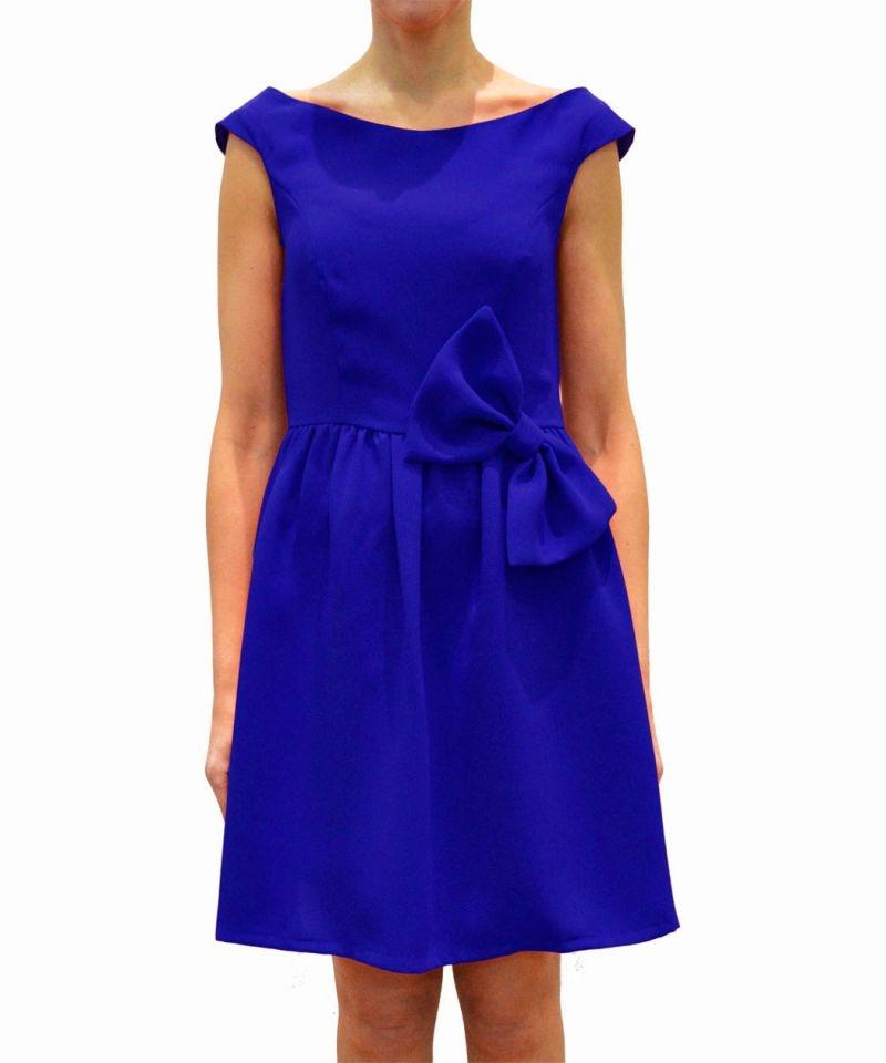 Vestido de fiesta corto azul klein con lazo