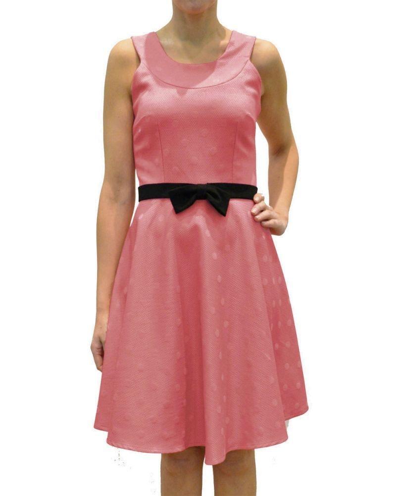 Vestido de fiesta rosa de piqué con lazo negro