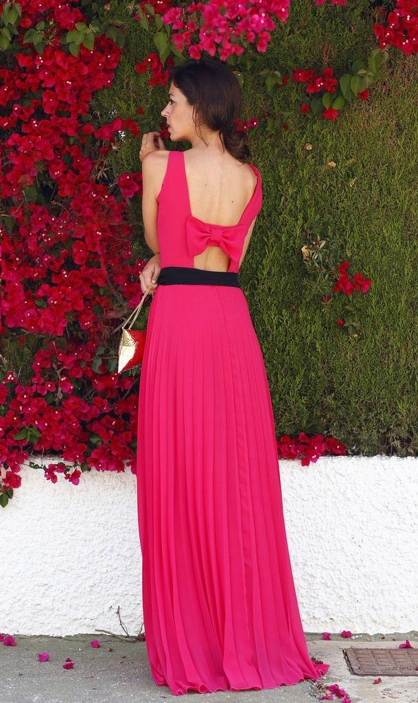 Vestido boda rosa fucsia