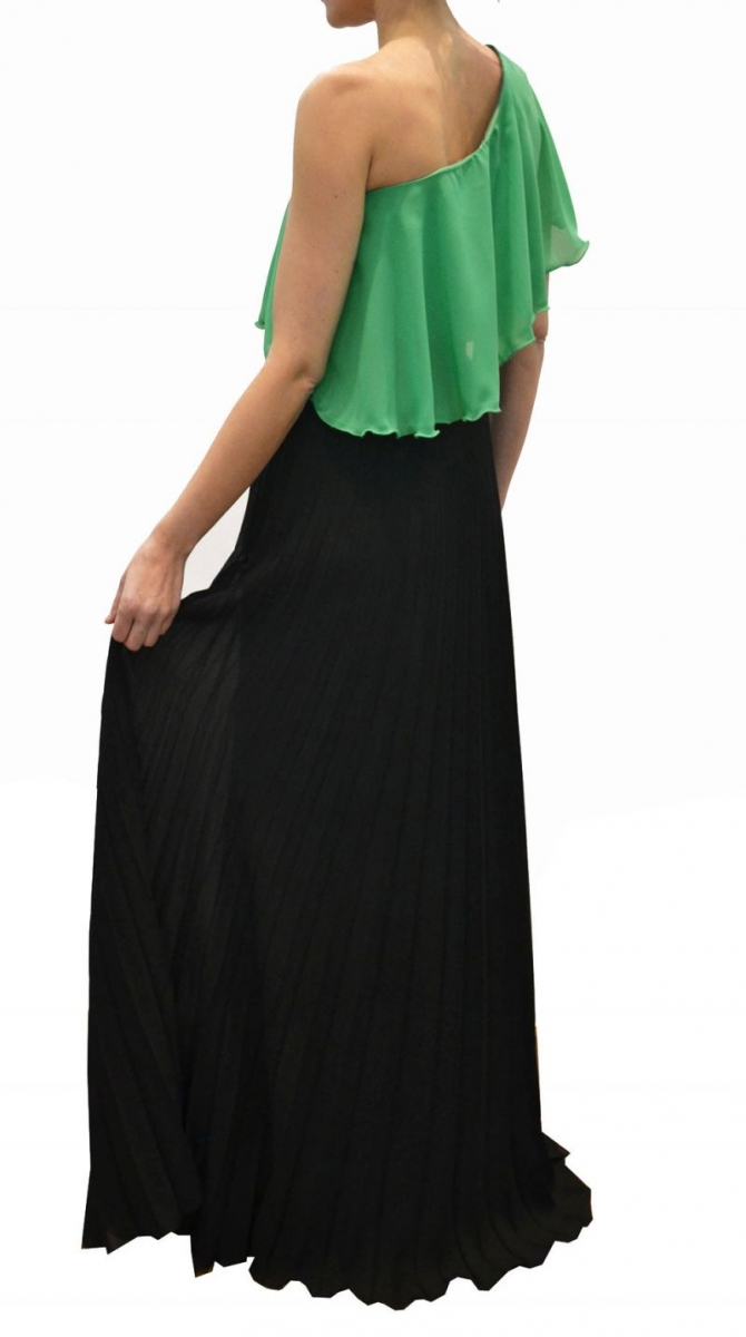Falda larga plisada negra para fiesta y boda 0e98fb6f4600