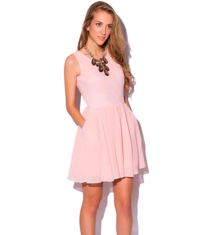 vestido fiesta corto skater rosa de q2