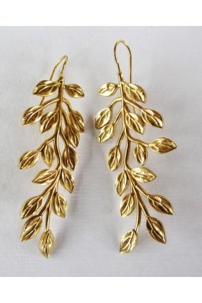 pendientes largos hojas oro nucca