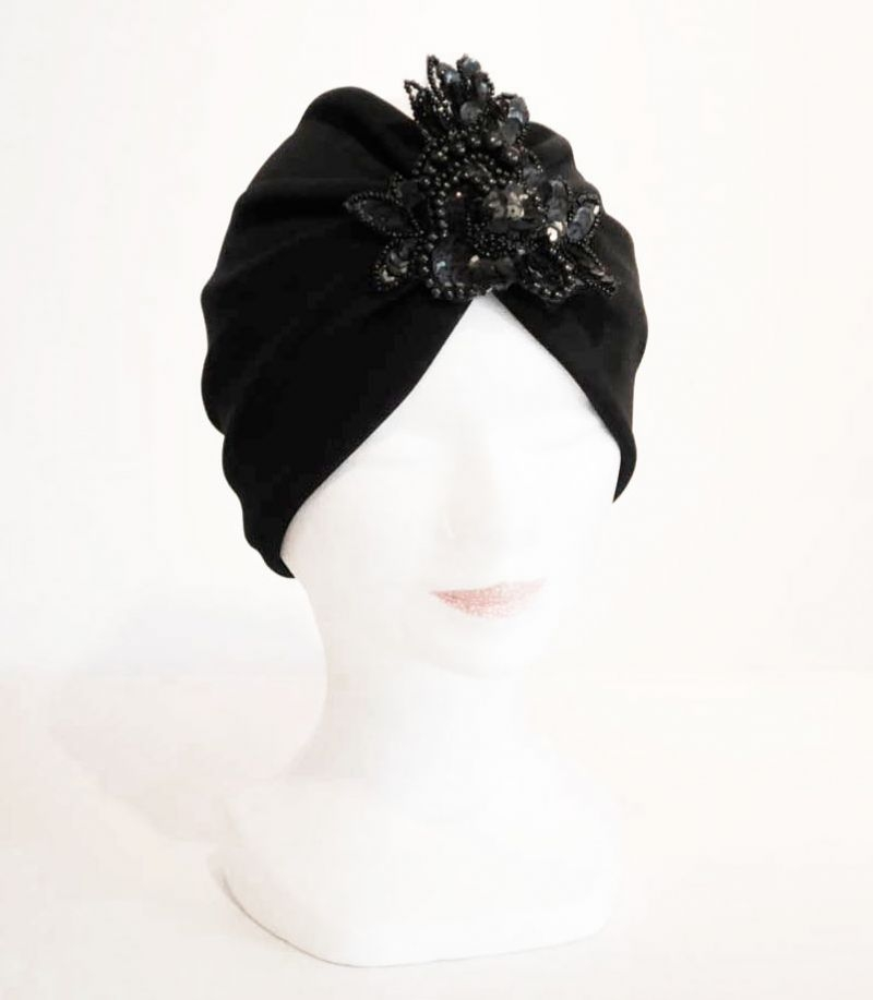 Turbante negro para boda bautizo comunion fiesta con for Turbante boda